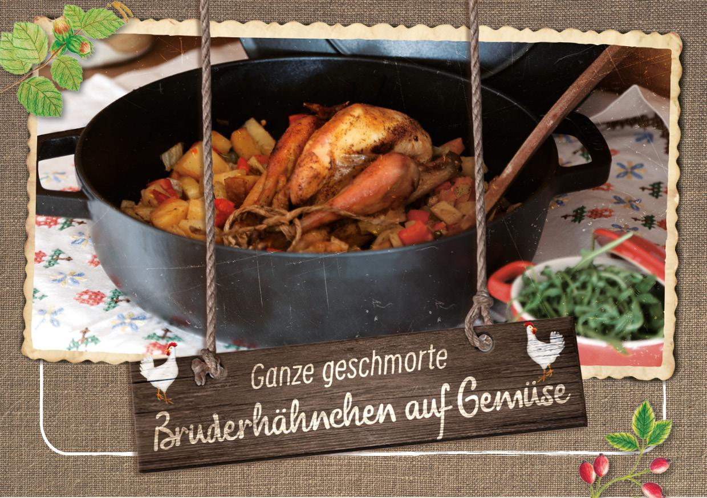 Ganze geschmorte Bruderhähnchen auf Gemüse- Hasenberghof Rezeptidee