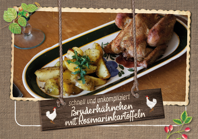 Bruderhahn Rezept vom Hasenberghof mit Rosmarinkartoffel