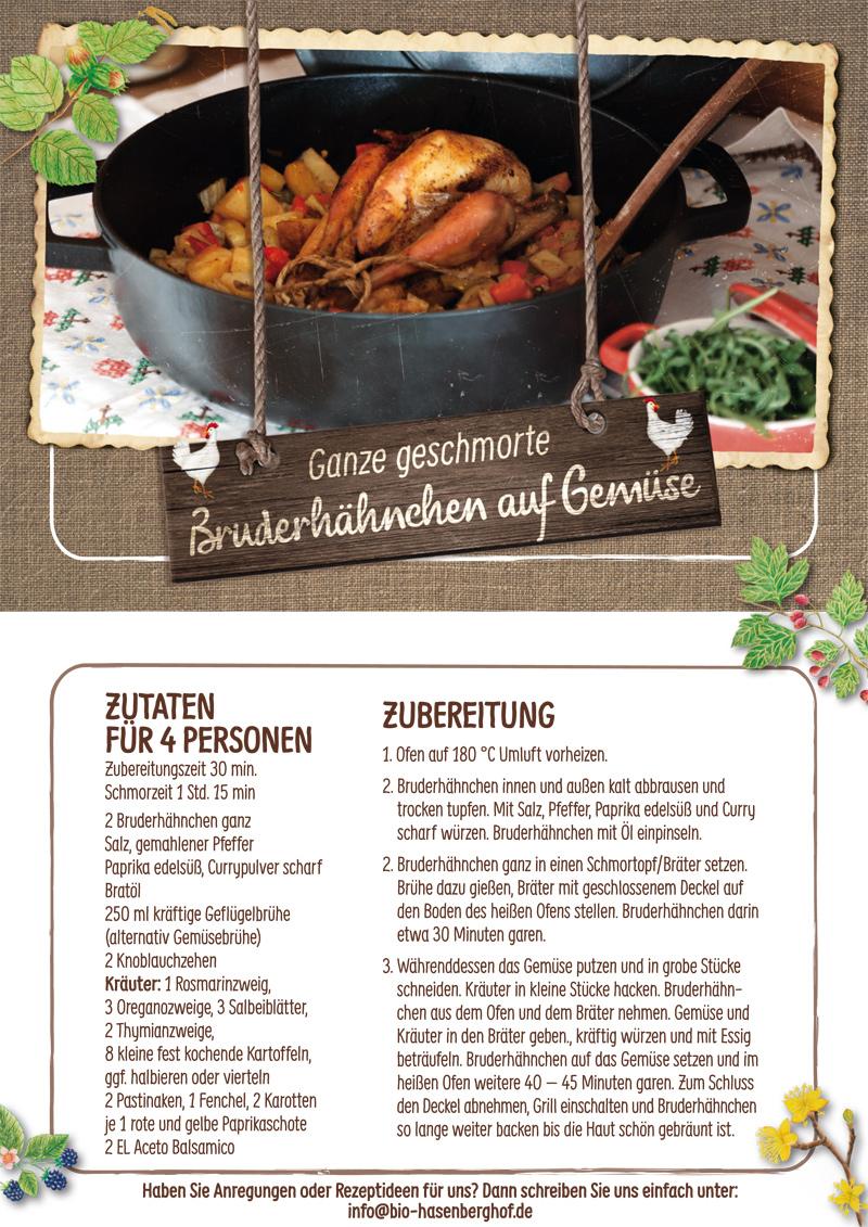 Bruderhahn Rezept vom Hasenberghof. Geschmortes Bruderhähnchen auf Gemüse