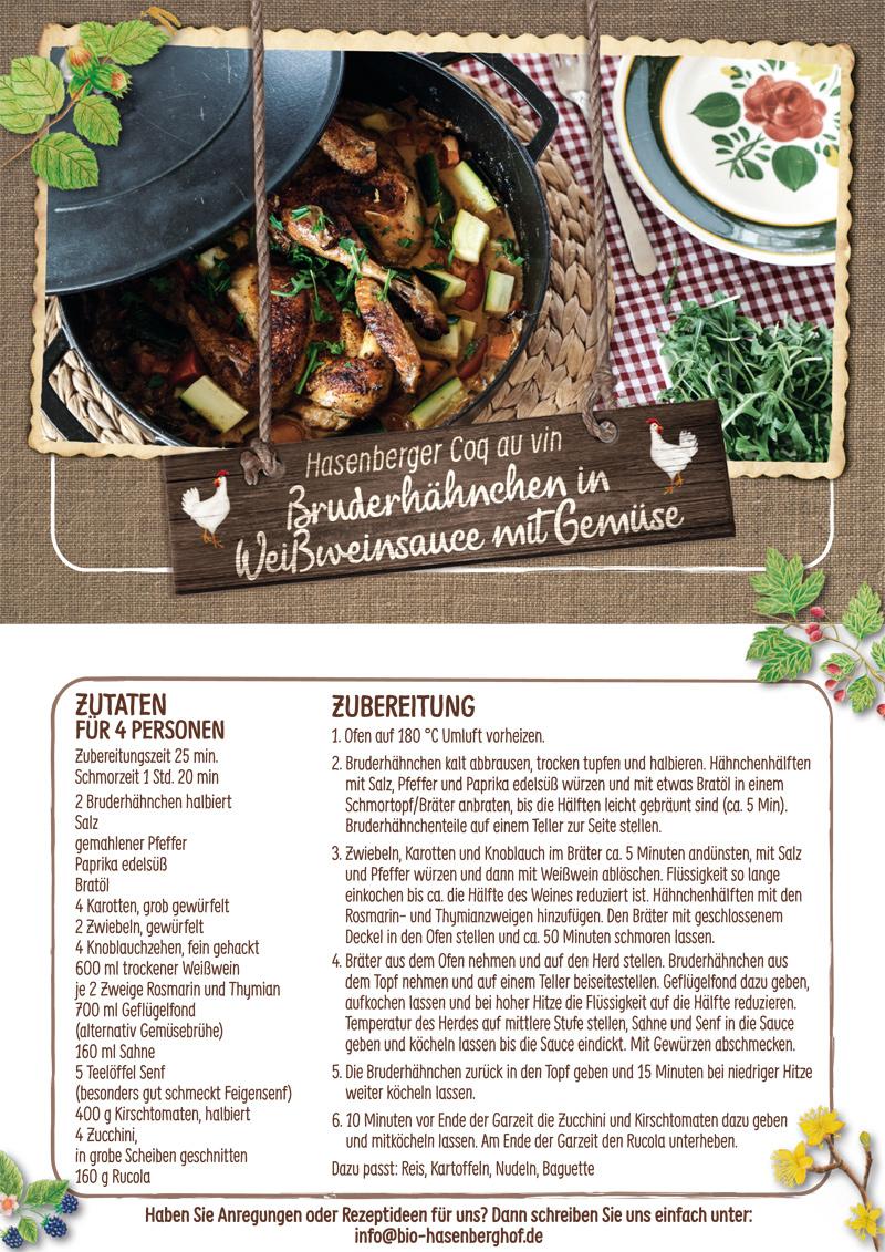 Coq au vin Bruderhahn Rezept Hasenberghof