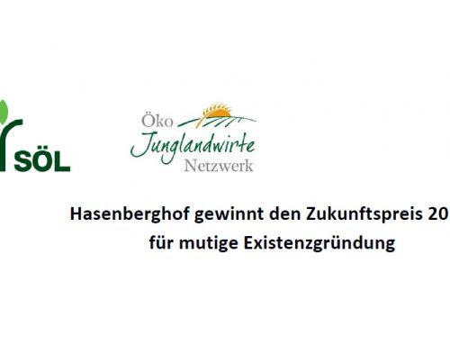 Hasenberghof gewinnt den Zukunftspreis 2018  für mutige Existenzgründung