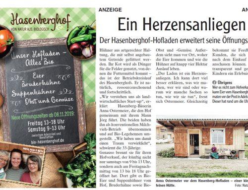 Hasenberghof-Hofladen erweitert seine Öffnungszeiten