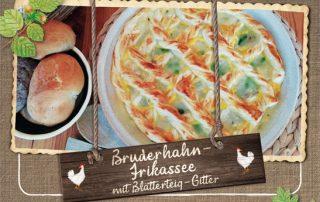 Hasenberghof Rezept Bruderhahn Frikassee mit Blätterteig Gitter